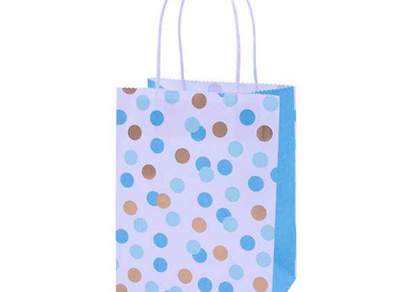 Blue And Gold Dots Party Bags (x 4)
