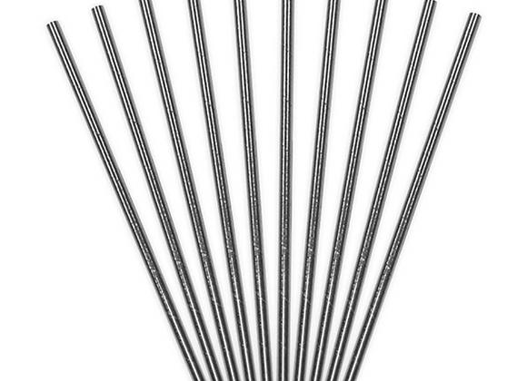 Silver Metallic Straws (x 10)