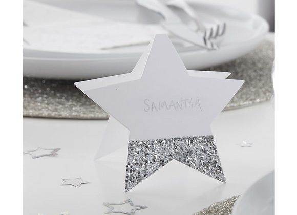 Star Shaped Silver Glitter Place Cards x 6