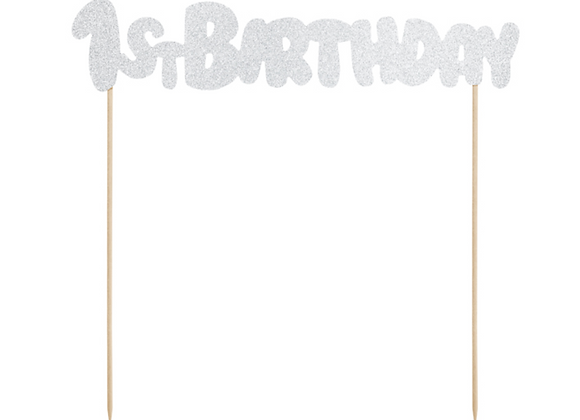 Silver Sparkly 1st Birthday Cake Topper