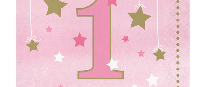 Pink First Birthday Napkins