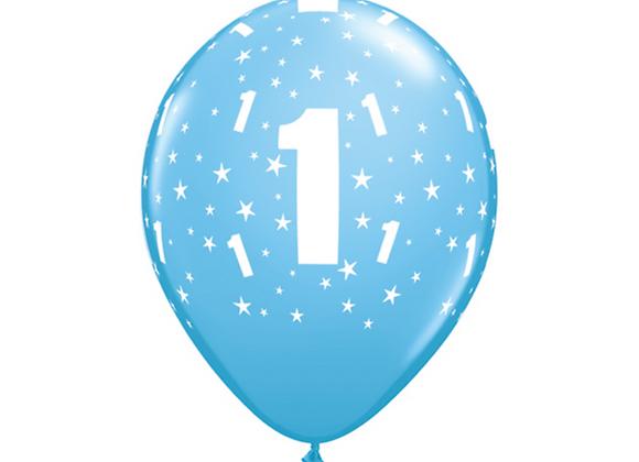 Blue First Birthday Balloons x 6