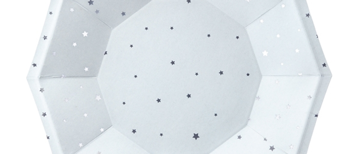 Blue And Silver Stars Plates x 6 - 18 cm