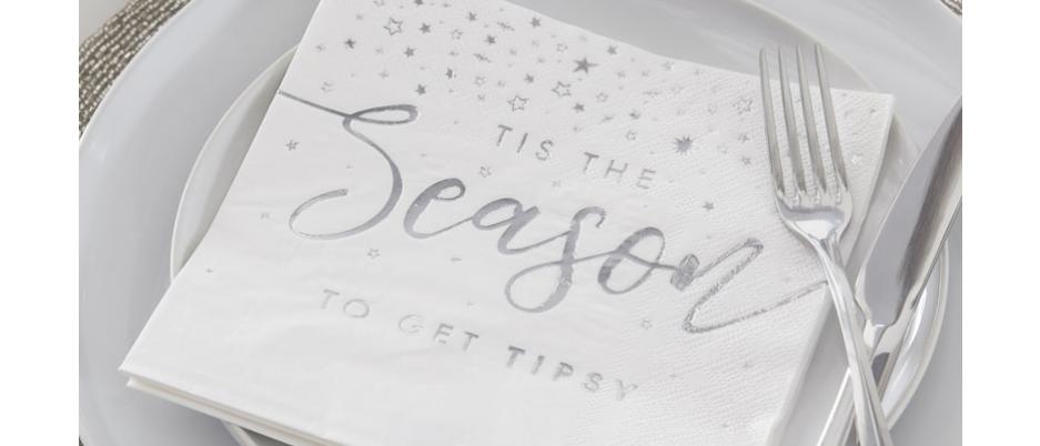 Silver Tis The Season To Get Tipsy Napkins x 16