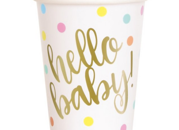 hello baby cups, baby shower paper cups, classy baby shower tableware, baby shower tableware