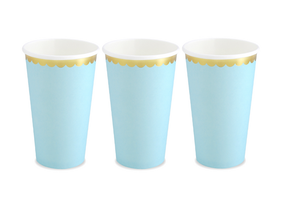 Pale Blue And Gold Cups (x 6 pack)