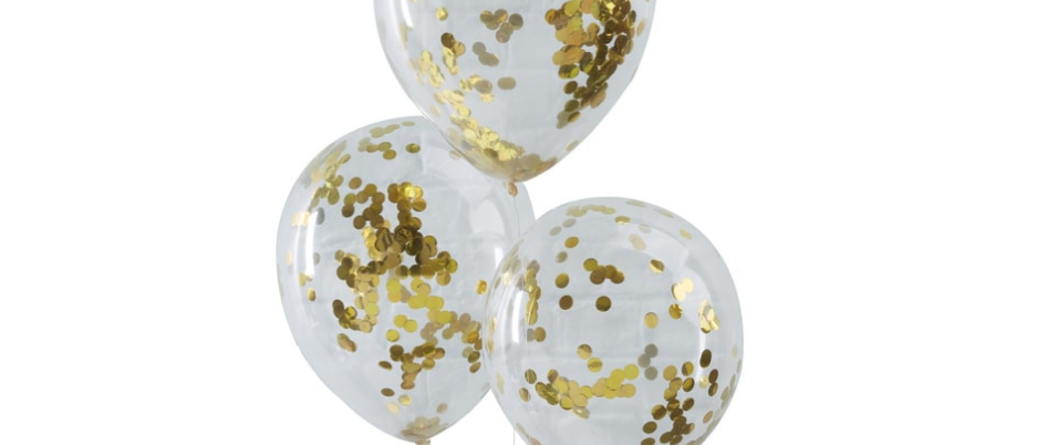 Gold Confetti Filled Balloons x 5
