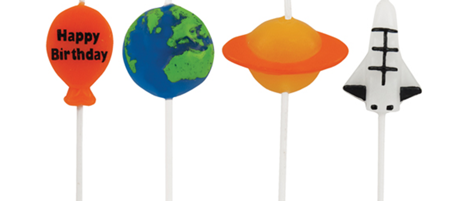 space party candles, space party decorations, candles for a space party, kids space party ideas
