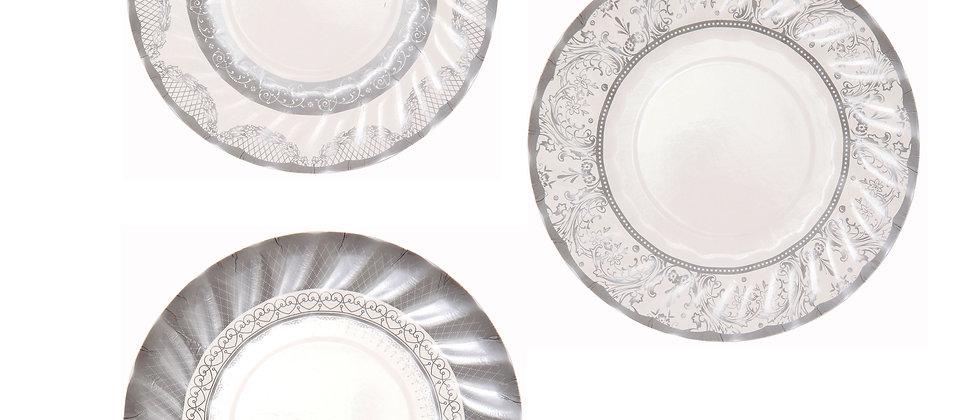 Silver & White Canape Plates