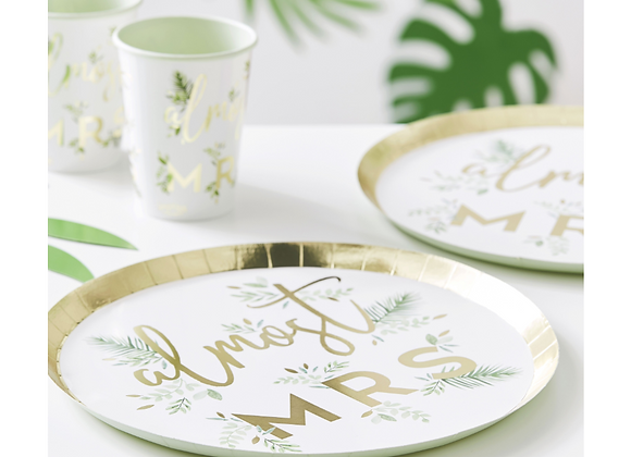 hen party tableware, hen party paper plates, ginger ray botanical bride range, floral themed hen party