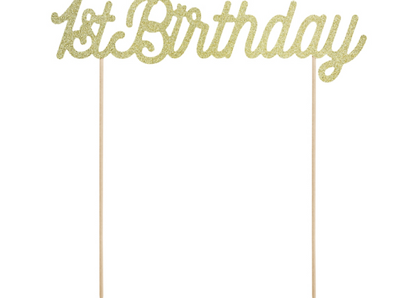 Gold Sparkly 1st Birthday Cake Topper