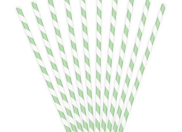 PAPER STRAWS, STRIPED PAPER STRAWS, GREEN STRIPED PAPER STRAWS