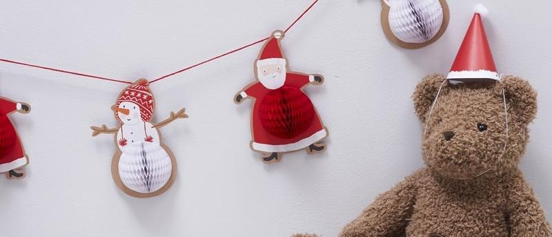 Santa And Snowman Honeycomb Garland