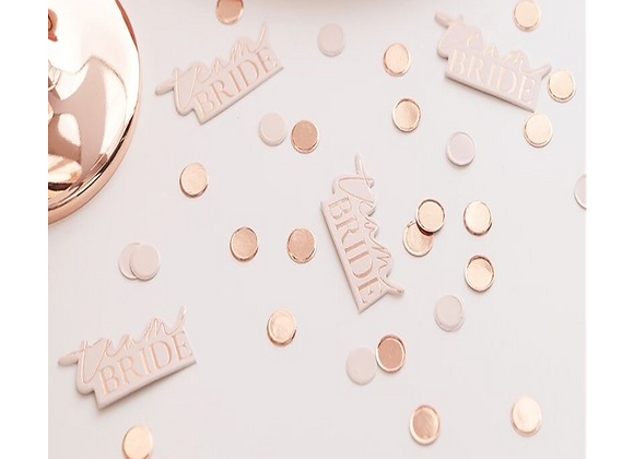 Team Bride Rose Gold And Blush Pink Table Confetti