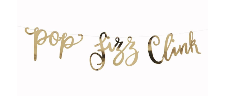 Gold Pop Fizz Clink Garland