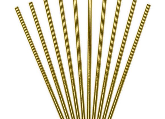Metallic Gold Paper Straws (x 10)