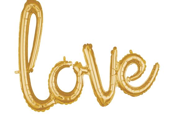 """Gold """"love"""" Balloon Garland"""