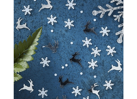 Silver Stag And Snowflake Table Confetti
