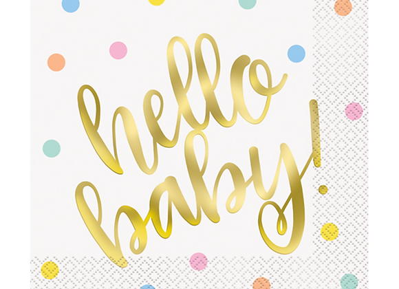 hello baby napkins, baby shower tableware, gold baby shower items