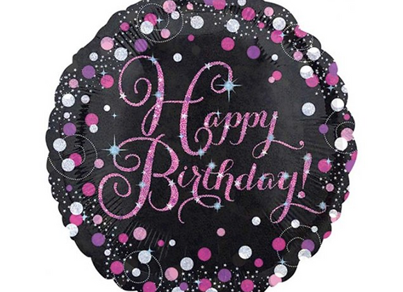 pink and silver sparkle happy birthday balloon