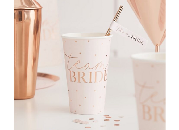 hen party paper cups, hen party tableware, team bride hen party, team bride tableware