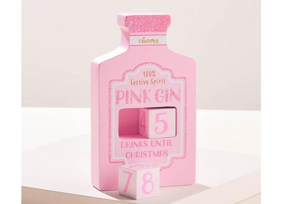 Pink Gin Christmas Countdown Blocks