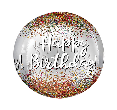 "Happy Birthday Sequins 16"" Orbz Balloon"