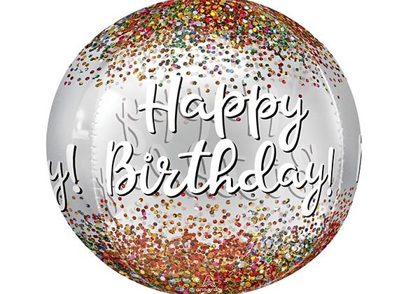 "Happy Birthday Sequin 16"" Orbz Balloon"