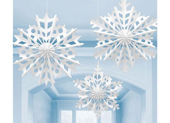 Snowflake Paper Fans (x 3)