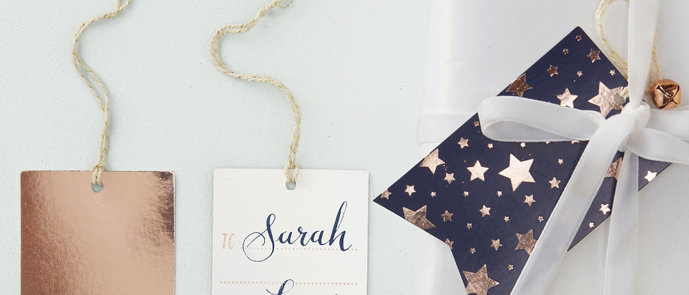 Navy And Rose Gold Gift Tags