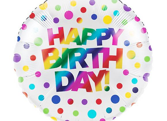 "Inflated Rainbow Happy Birthday Foil 18"" Balloon"