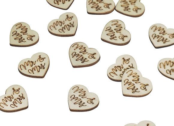 Mr & Mrs Love Heart Wooden Table Confetti