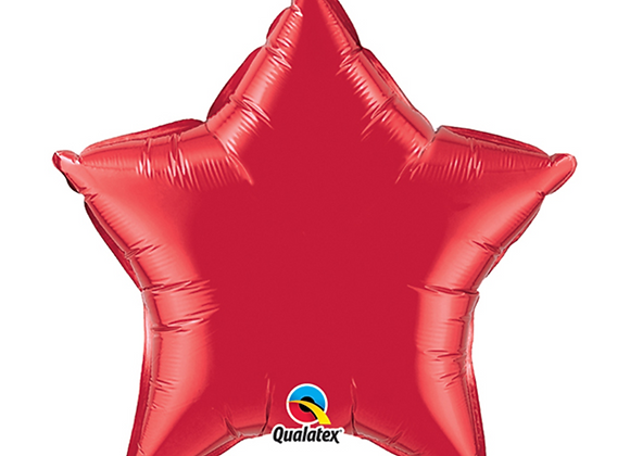 red foil star inflated balloon
