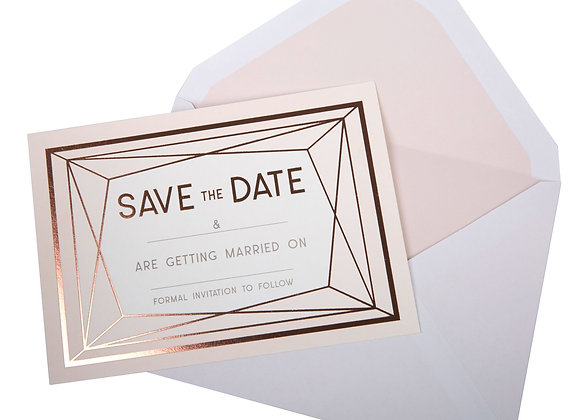 Rose Gold Text - Save The Date Cards