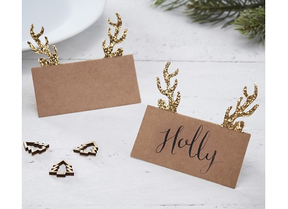 Gold Glitter Antler Place Cards x10