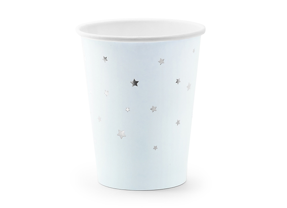 Pale Blue Silver Stars Cups (x 6 pack)