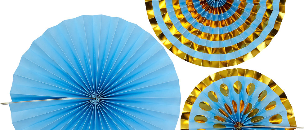 Blue And Gold Paper Fans x 3