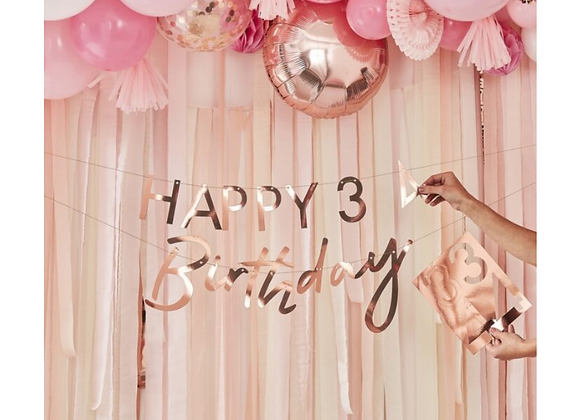 rose gold birthday garland, happy birthday banner, number birthday garland, rose gold number decoration