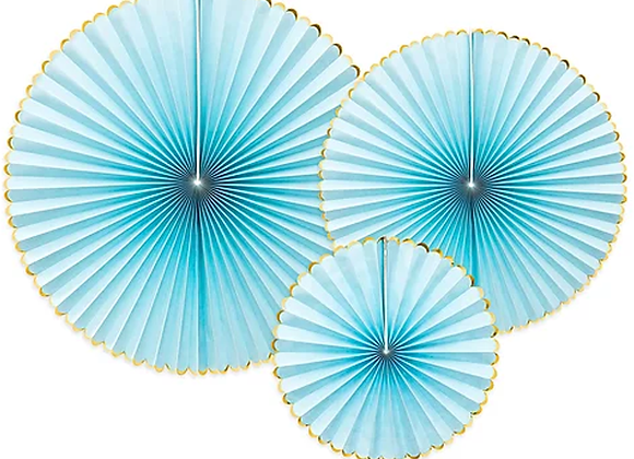 Pale Blue And Gold Paper Fans x 3