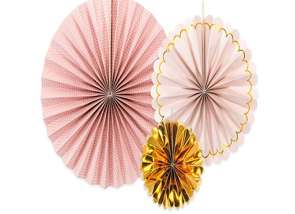 Pale Pink And Gold Paper Fans