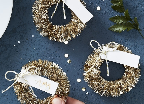 Gold Wreath Name Place Card Holders