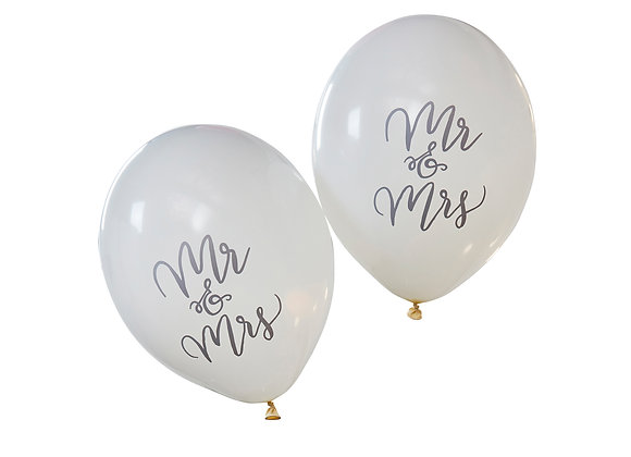 Mr & Mrs White Balloons