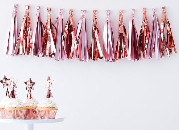Matte Pink And Rose Gold Tassel Garland Kit