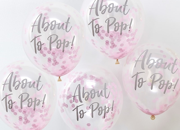 Pink Oh Baby Confetti Filled Balloons