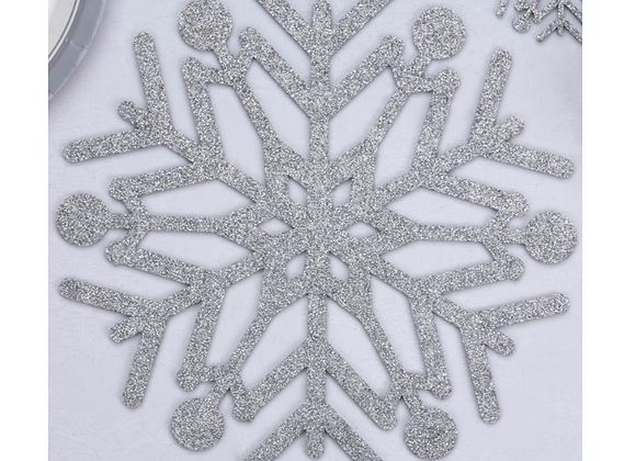 Silver Glitter Snowflake Place Mats x 4