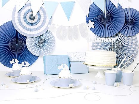 Blue first birthday decorations