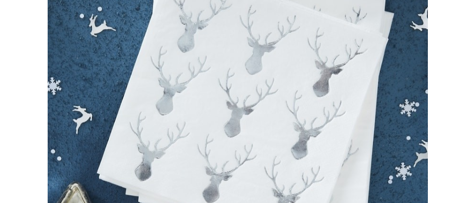 Silver Stags Head Napkins x 16
