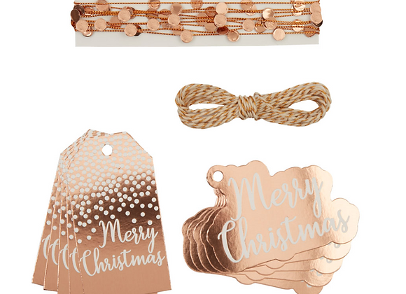 Christmas Rose Gold Gift Wrapping Set