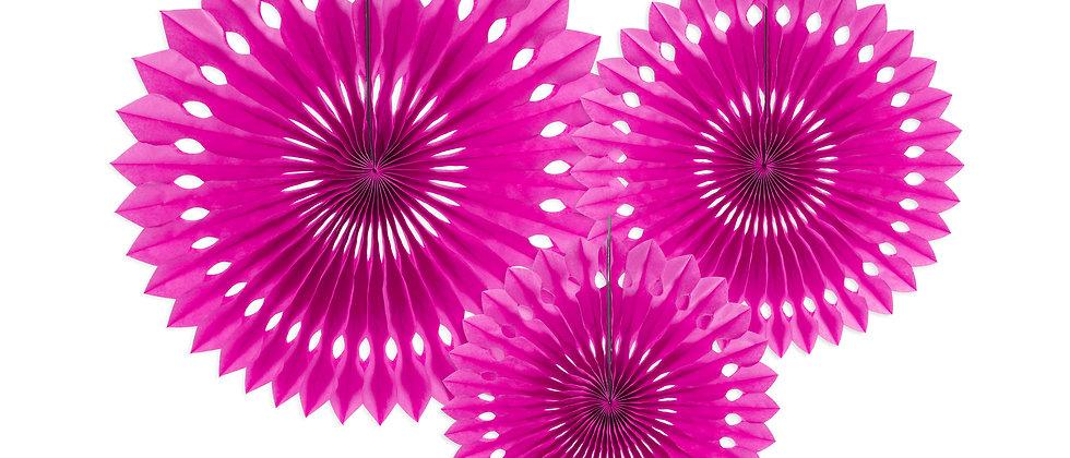 Dark Pink Paper Fans x 3