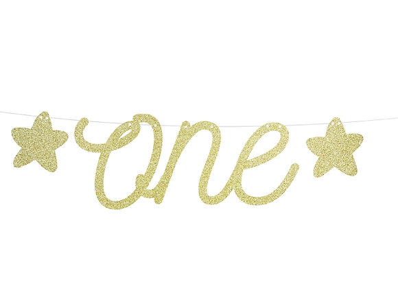 "Gold Sparkly ""one"" Garland"